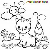 picture of tabby cat  - Vector illustration of a black and white outline image of a cute happy tabby cat sitting on grass - JPG