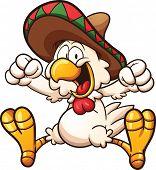 foto of sombrero  - Cartoon chicken with Mexican sombrero - JPG
