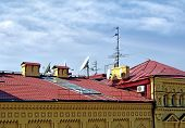 foto of antenna  - Home TV antennas mounted on a roof - JPG