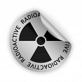 stock photo of radioactive  - vector silver bent sticker with black radioactive sign - JPG