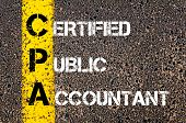 picture of cpa  - Yellow paint line on the road against asphalt background - JPG