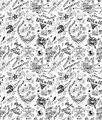 stock photo of silkscreening  - Vintage traditional tattoo biker seamless pattern - JPG
