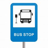 picture of motor-bus  - A designated place where buses stop for passengers to board or alight from a bus - JPG