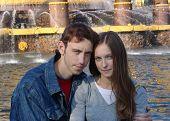 Yoing Couple At A Fountain
