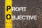 picture of objectives  - Business Acronym PO - Profit Objective. Yellow paint line on the road against asphalt background. Conceptual image - JPG