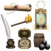 stock photo of inkpot  - Pirate icons set 3 - JPG