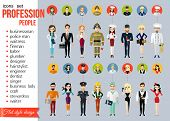 Постер, плакат: Profession people and avatars collection Cartoon different characters and different clothes Doctor