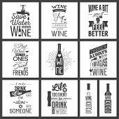 Set of vintage wine typographic quotes poster