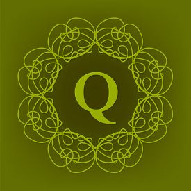 pic of monogram  - Simple  Monogram Q Design Template on Green  Background - JPG
