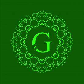 pic of monogram  - Simple  Monogram G Design Template on Green  Background - JPG