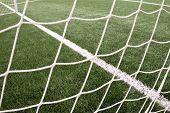 Hang Bended Soccer Nets, Soccer Football Net. Grass On Football Playground poster