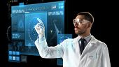 science, future technology and people concept - male doctor or scientist in white coat and safety gl poster