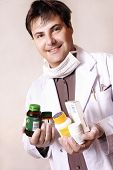 Doctor With Variety Of Medicines