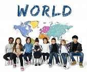 Colorful World Map Geography Concept poster