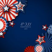 4Th Of July, Usa Independence Day. Vector Paper Stars In Usa Flag Colors. Blue Background With Place poster
