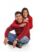 Middle age couple smiling isolated on a white background