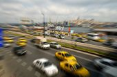 Traffic through downtown at rush hour, in Istanbul, Turkey