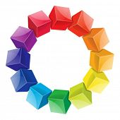 stock photo of color wheel  - Color wheel 3d from cubes vector illustration - JPG