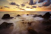 stock photo of sunset beach  - Tropical sunset on the beach - JPG