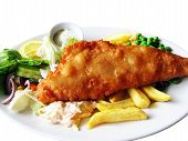picture of plate fish food  - delicious plate of traditional fish and chips  - JPG