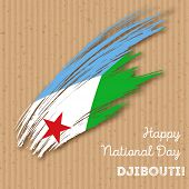 Постер, плакат: Djibouti Independence Day Patriotic Design Expressive Brush Stroke In National Flag Colors On Kraft