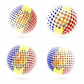 Постер, плакат: Andorra Halftone Flag Set Patriotic Vector Design 3D Halftone Sphere In Andorra National Flag Color