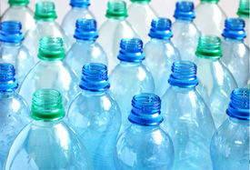 image of plastic bottle  - Many empty blue and green water bottles - JPG