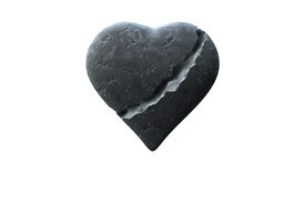 foto of broken-heart  - Broken heart of stone isolated over a white background - JPG