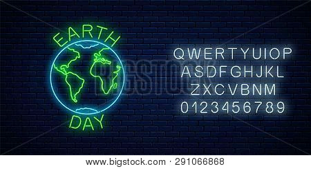 Glowing Neon Sign Of World