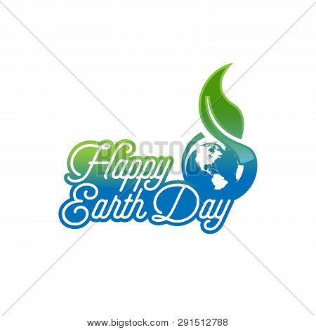 Happy Earth Day Lettering Poster