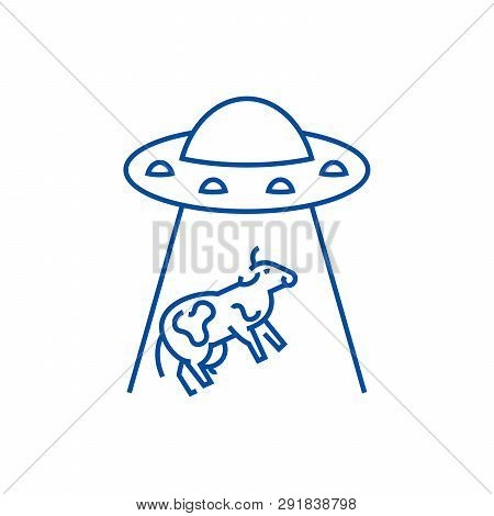 Ufo Taking Cow Line Icon