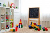 Childrens Playroom With Plastic Colorful Educational Blocks Toys. Games Floor For Preschoolers Kinde poster