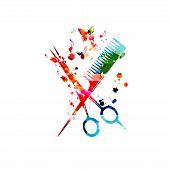 Hairdressing Tools Background. Colorful Comb And Scissors Vector Illustration Design For Beauty And  poster