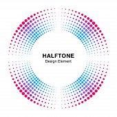 Halftone Colorful Circle Frame Abstract Dots Logo Emblem Design Element. Half Tone Circular Icon. Di poster