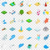 Water Creation Icons Set. Isometric Style Of 36 Water Creation Vector Icons For Web For Any Design poster