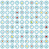 100 Meteorological Icons Set In Flat Style For Any Design Vector Illustration poster