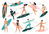 Surfing People. Surfer Standing On Surf Board, Surfers On Beach And Summer Wave Riders Surfboards Ve poster