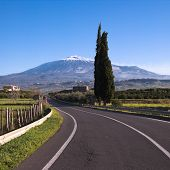 a road to volcano Etna