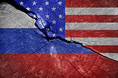 The Economic War Between Russia And The U.s.  Economic Sanctions Of Russia And The Usa. poster