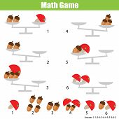 Counting Educational Children Game. Mathematics Activity For Kids And Toddlers. Balance The Scale. L poster