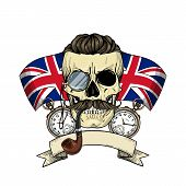 Color British Skull With Mustaches, Rimless Eyeglasses, Umbrella, Pocket Watch, British Flag And Tob poster