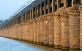 Historic Prakasam barrage bridge in India