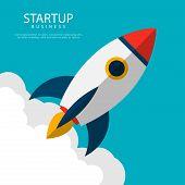 Startup Business. Rocket Launch. Business Concept. Startup Illustration poster