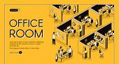 Modern Coworking Center With Individual Workplaces Isometric Projection Vector Web Banner. Company E poster
