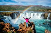 The Godafoss Waterfall In North Iceland. poster