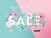 Mothers Day Sale Design. Spring Promo Discount Banner Template With Paper Cut Flowers For Flyer, Pos poster