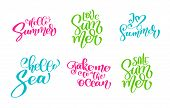 Travel Lifestyle Motivational Phrases Set. Hand Drawn Summer Vector Calligraphy Lettering Text. Vaca poster