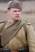 pic of vinnitsa  - Person in historical Soviet uniform as he participates in a WWII reenactment in Vinnitsa - JPG