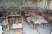 Kindergarten.Chernobyl area. Lost city Pripyat. Modern ruins. Ukraine. Kiev region.