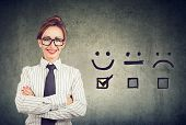 Customer Experience Concept. Confident Happy Business Woman Received Excellent Rating For A Satisfac poster